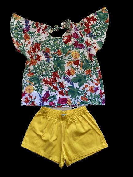 Conjunto Amarelo Flores Pata Choca