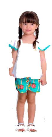 conjunto feminino branco com azul - precoce