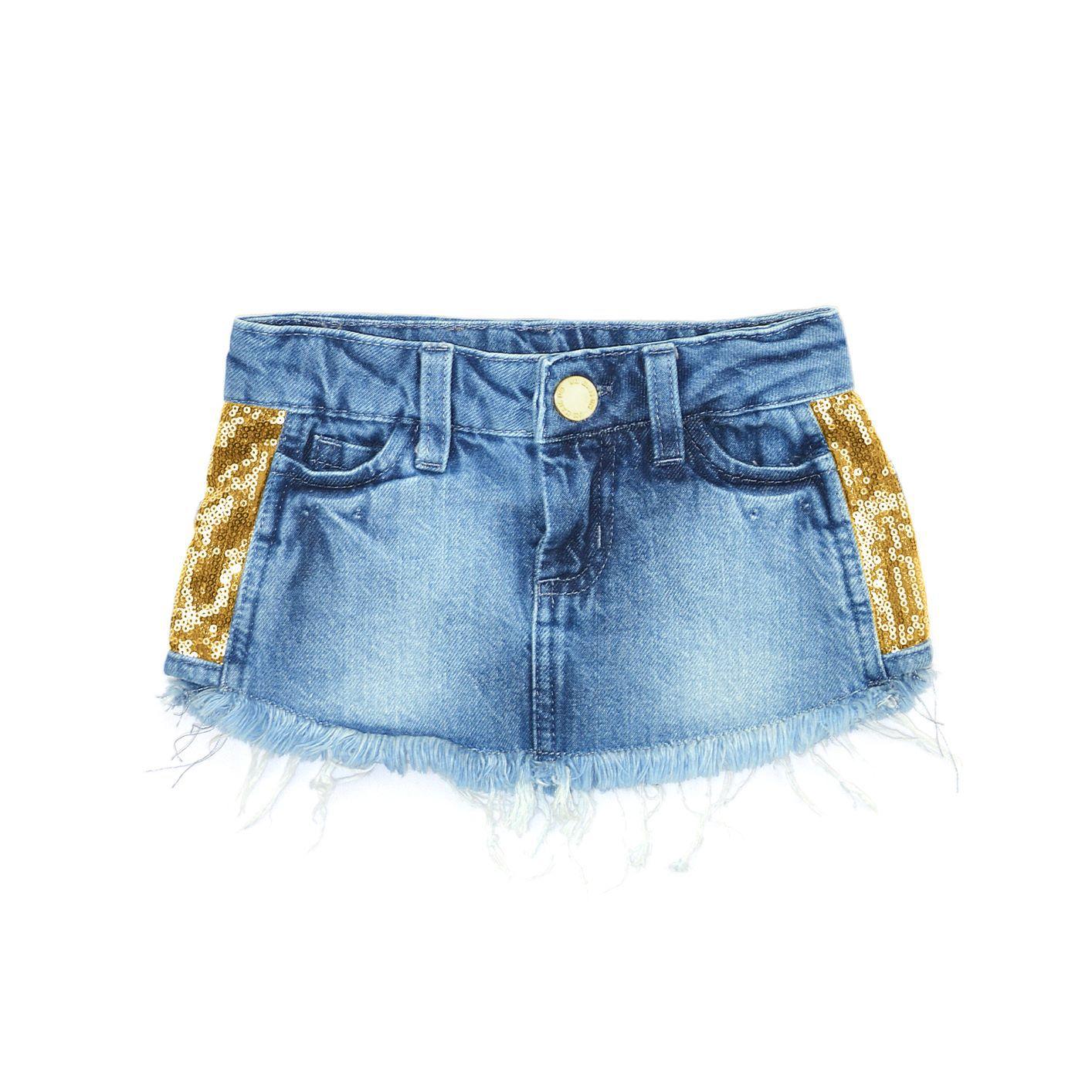 Saia Jeans com Paetês 1+1