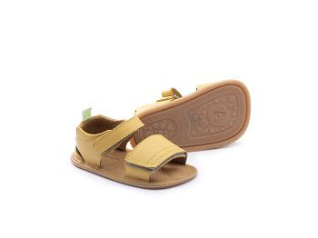 sandália couro amarelo velcro slacky - tip toey joey