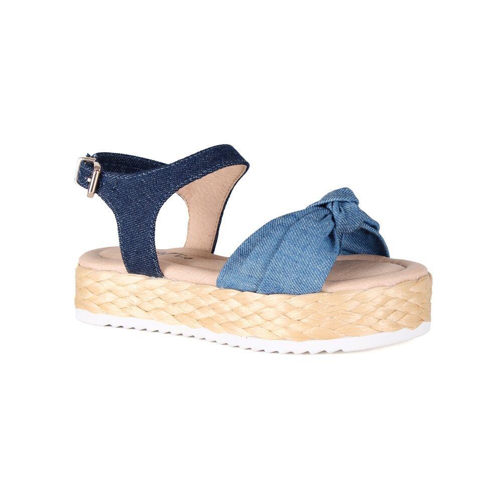 Sandália Flat Jeans Salto Corda Menina Rio