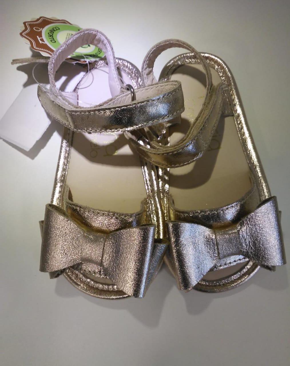 Sandália Laço Dourada Maria Caramelo