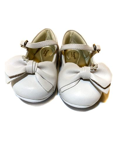 sapato angel branco laço e pérolas -  pampili