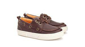 Sapato Cadarço Elástico Couro Marrom Gambo