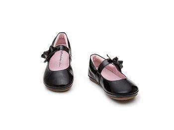 Sapato Couro Preto Laço Little Doroth Tip Toey Joey