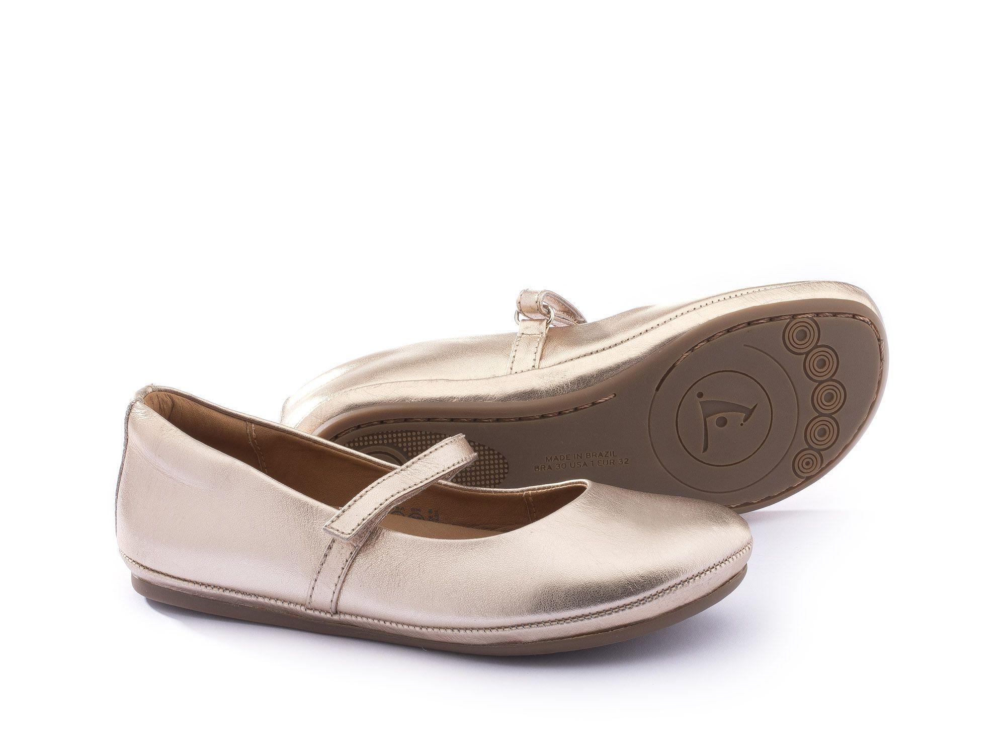 Sapato Couro Salmão Metalizado Fizz Tip Toey Joey