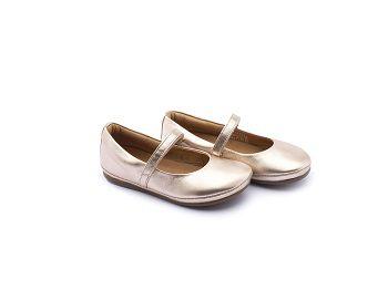 Sapato Couro Salmão Metalizado Little Twirl Tip Toey Joey