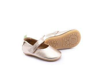 Sapato Couro Salmão Metalizado Dolly  Tip Toey Joey