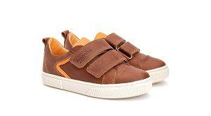 Sapato Velcro Detalhe Laranja Couro Marrom Gambo