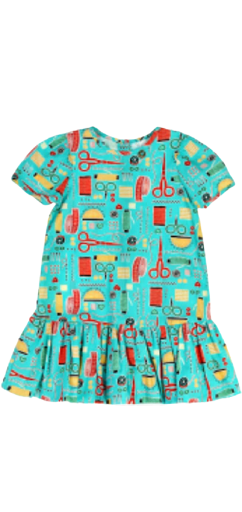 Vestido Azul Estampa De Costura - Precoce