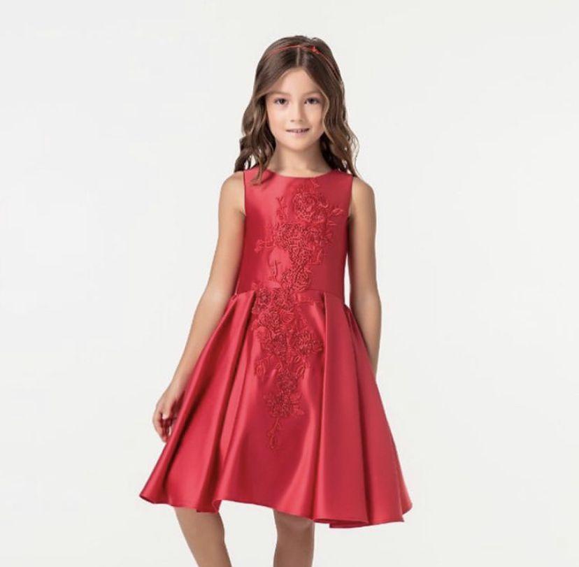 Vestido Bordado Rodado Vermelho Petit Cherie