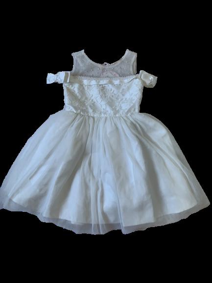 Vestido Branco Ombro a Ombro Pérolas Petit Cherie
