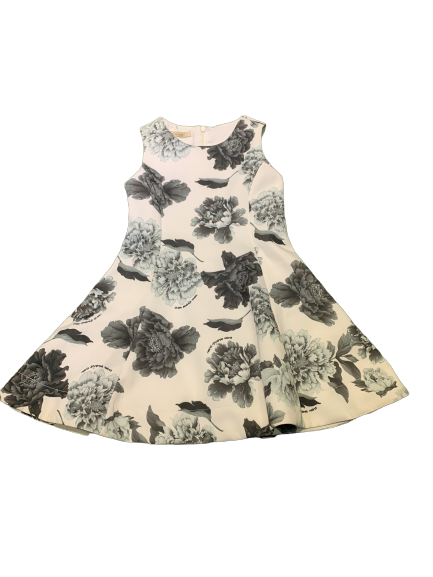Vestido Florado Preto com Branco