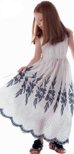 vestido longo bordado camu camu