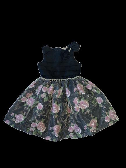 Vestido Preto com Rosas Petit Cherie