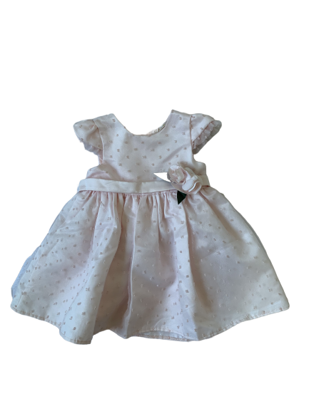 Vestido Rosa Bebê Detalhe Flor Petit Cherie