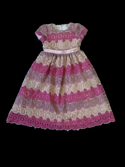 Vestido Tri Rosa Guipure Animê