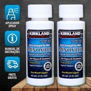 Kirkland Minoxidil 5% - Kit 2 Frascos + Aplicador Spray (O TEMPO DE ENTREGA PODE VARIAR POR CAUSA DO COVID19)