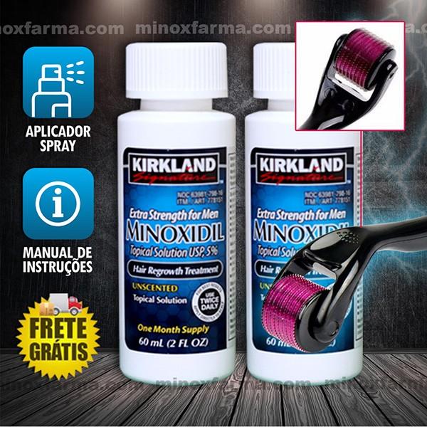 (Combo) 2 Frascos Minoxidil + 1 Dermaroller 0.25mm (PRONTA ENTREGA) Frete Grátis*