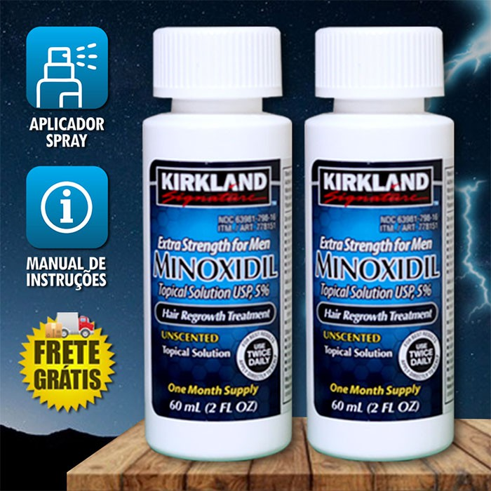 Kirkland Minoxidil 5% - Kit 2 Frascos + Aplicador Spray [FRETE GRÁTIS] PRONTA ENTREGA)