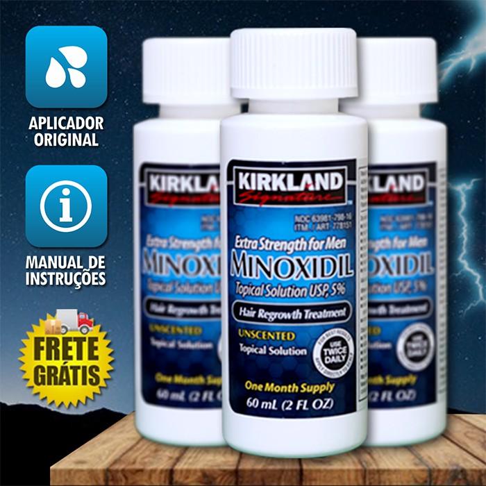 Kirkland Minoxidil 5% - Kit 3 Frascos + Aplicador Spray [FRETE GRÁTIS] Pronta Entrega