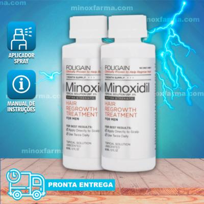 Minoxidil Foligain  02 Frascos 120 ml + Aplicador Spray (PRONTA ENTREGA)