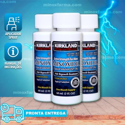 Minoxidil Kirkland 5%  03 Frascos Original + Spray (PRONTA ENTREGA)
