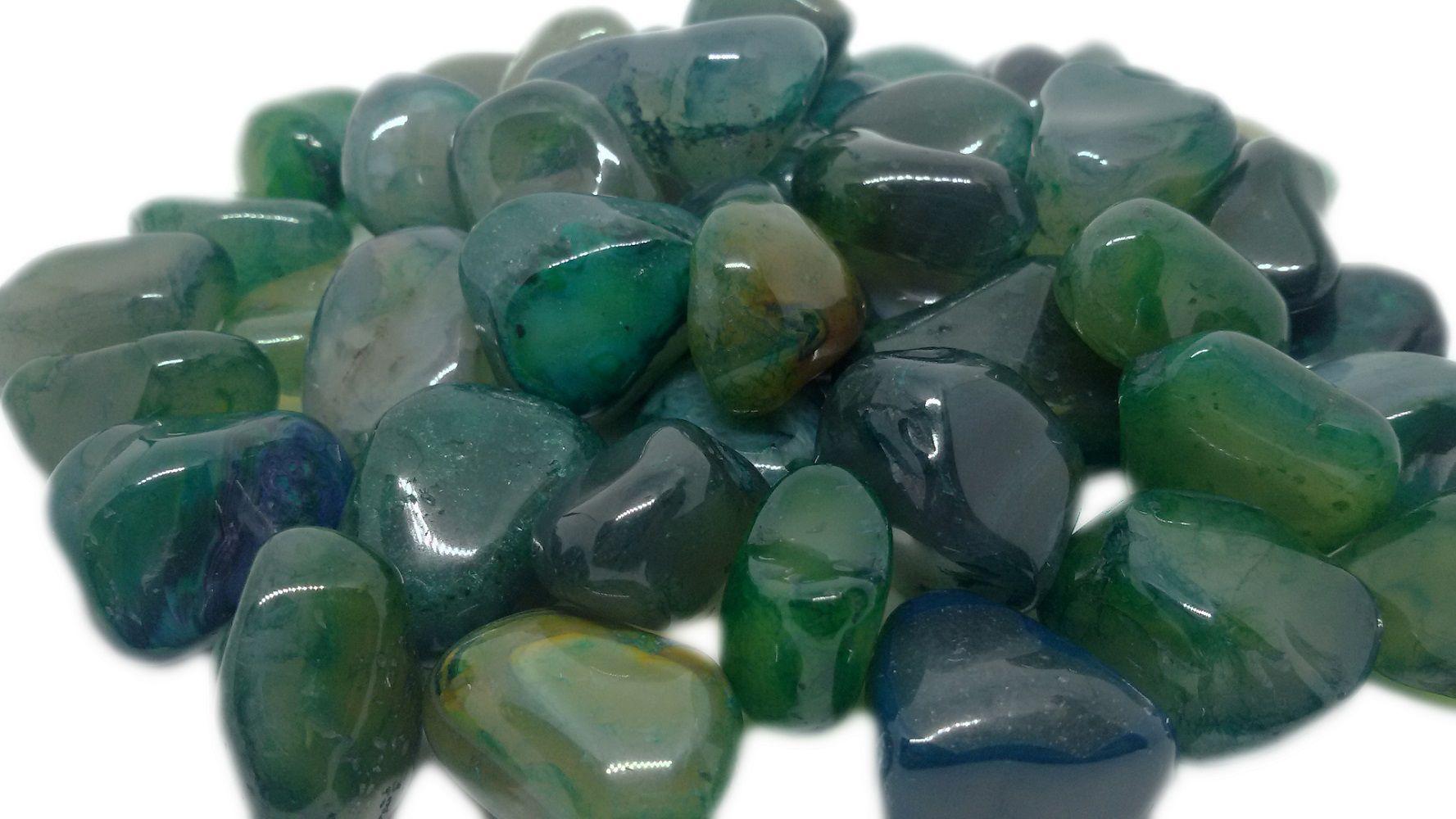 100g De Pedra Rolada De Ágata Verde