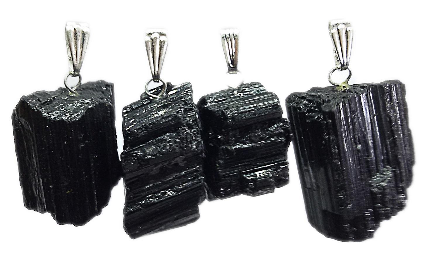 10 unidades de Pingente De Turmalina Negra Bruta