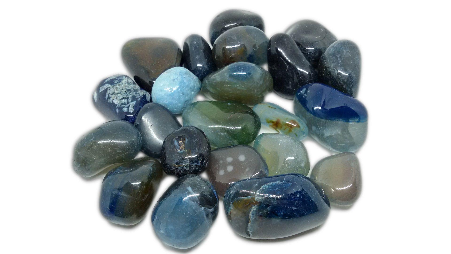 250g De Pedra Rolada De Ágata Azul