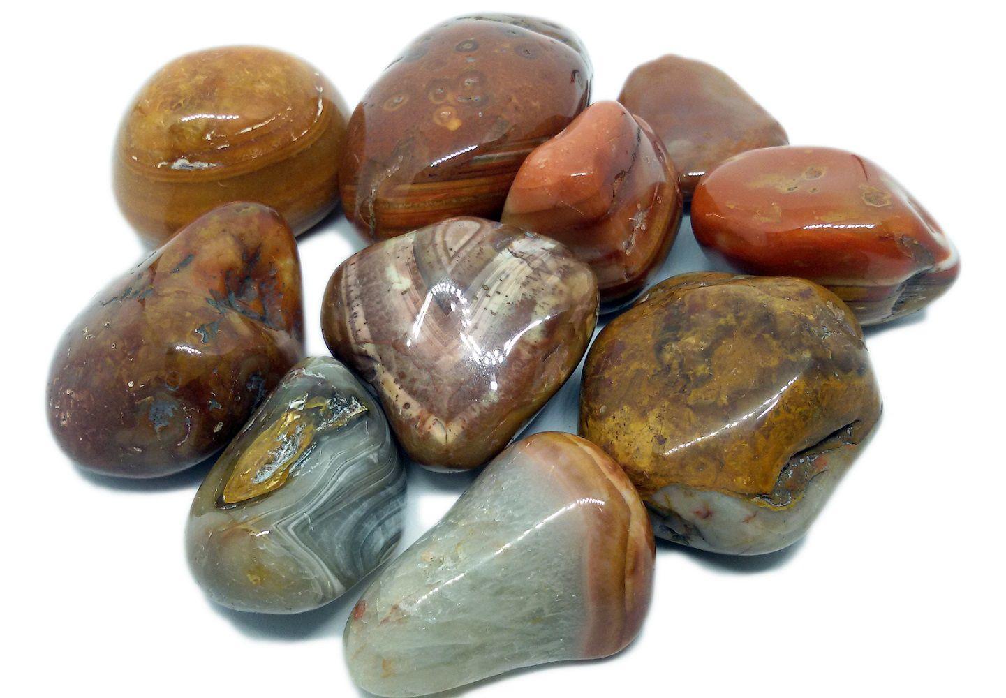 500g De Pedra Rolada Ágata De Fogo Natural