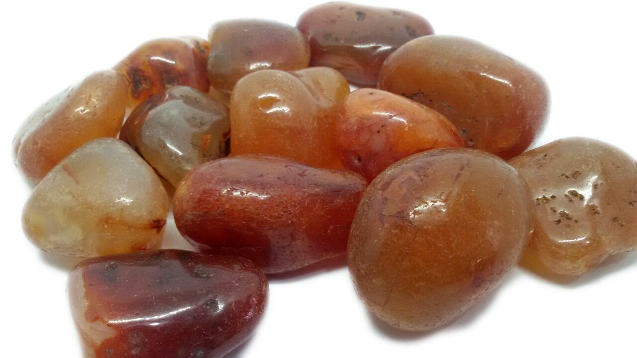 500g De Pedra Rolada Cornalina Natural