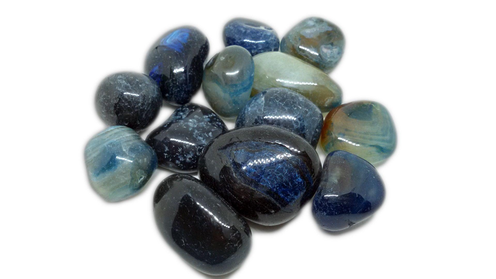 500g De Pedra Rolada De Ágata Azul