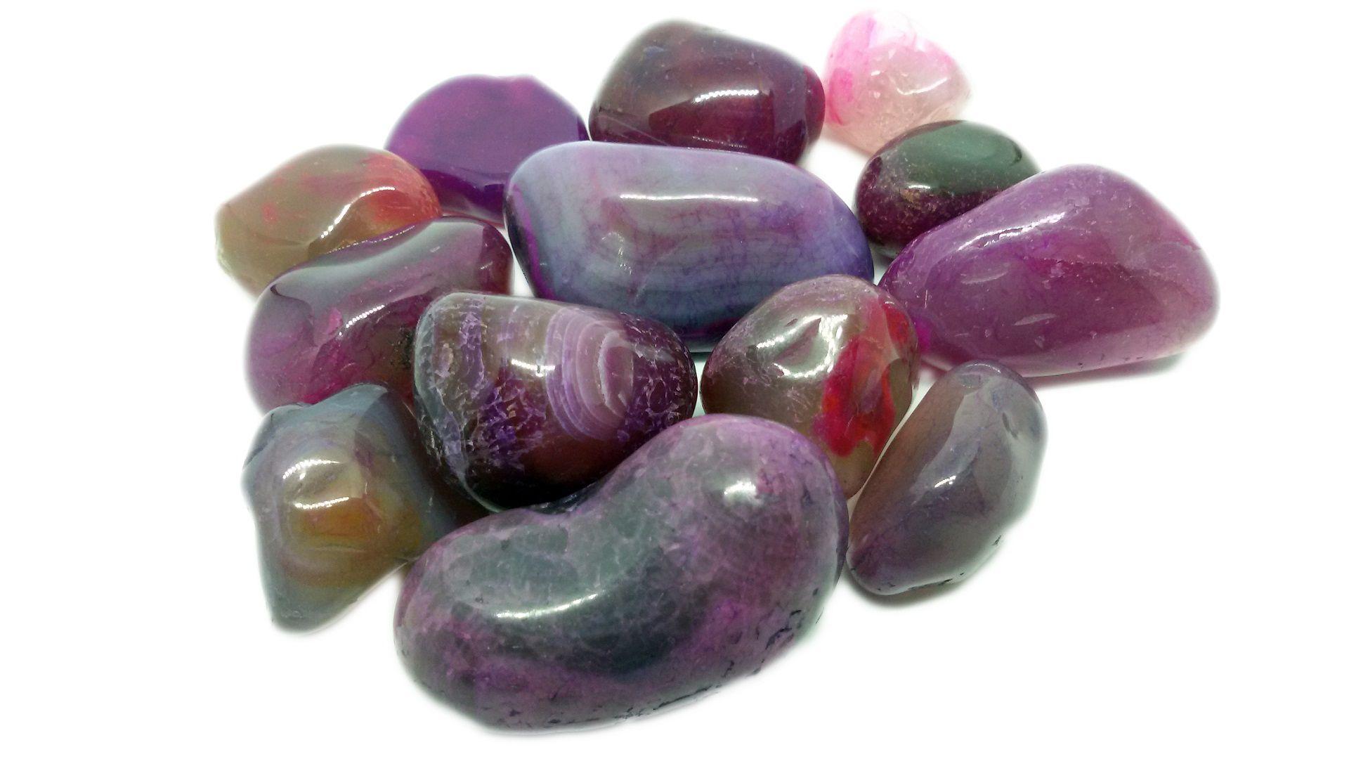 500g De Pedra Rolada De Ágata Rosa