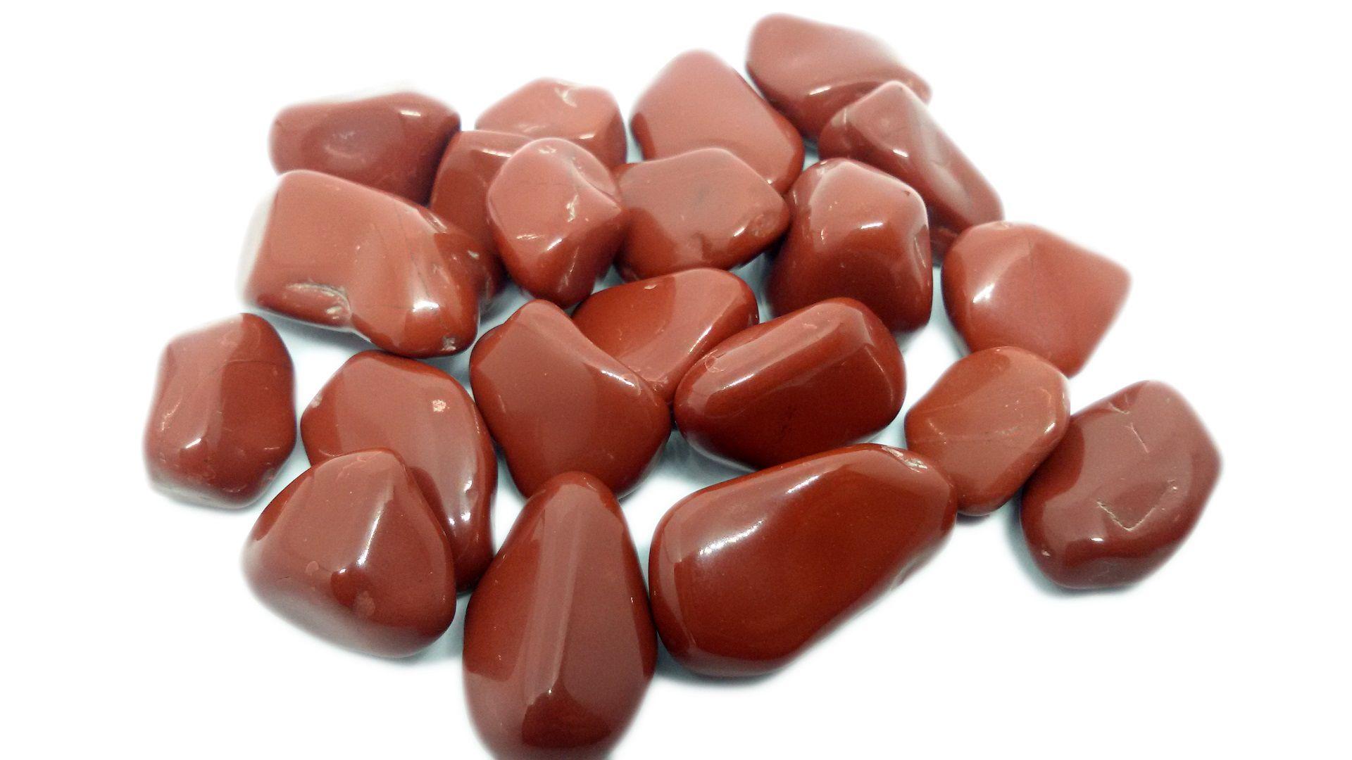 500g De Pedra Rolada De Jaspe Vermelho Natural