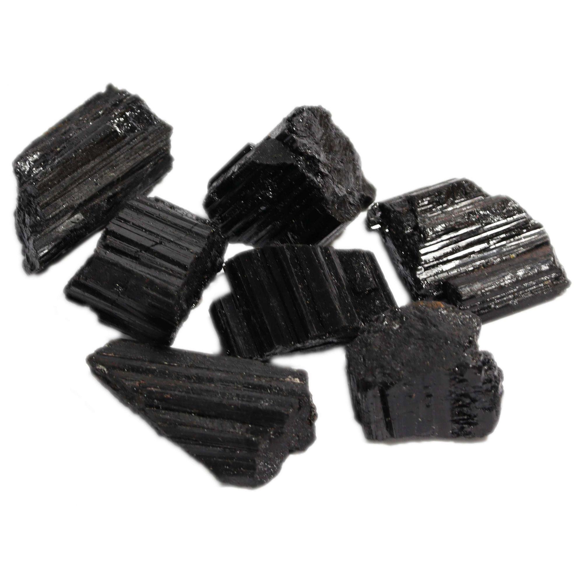 5 Unidades De Pedra Bruta Turmalina Negra Natural