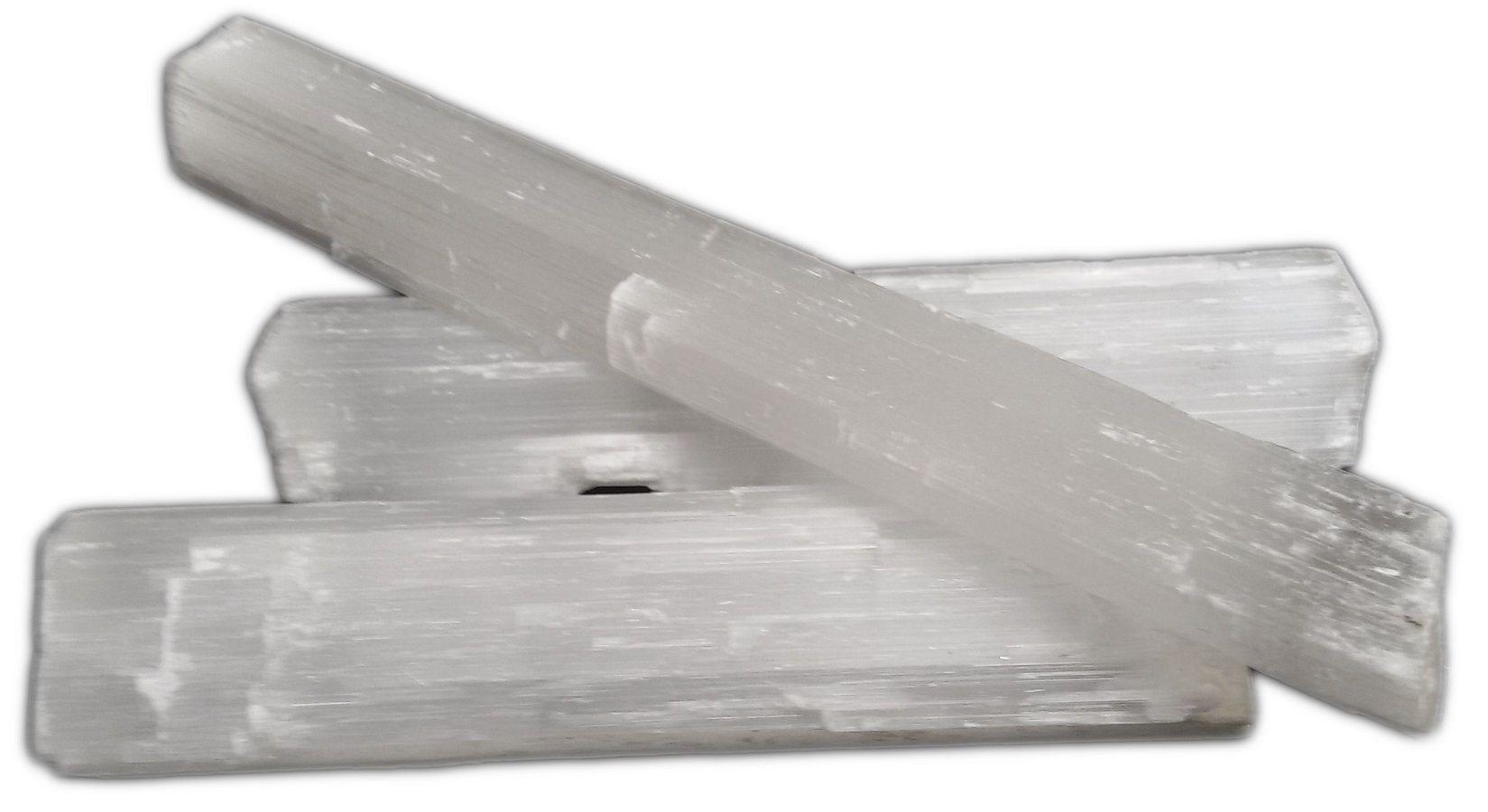 Bastão de Pedra Selenita Branca Bruta Natural