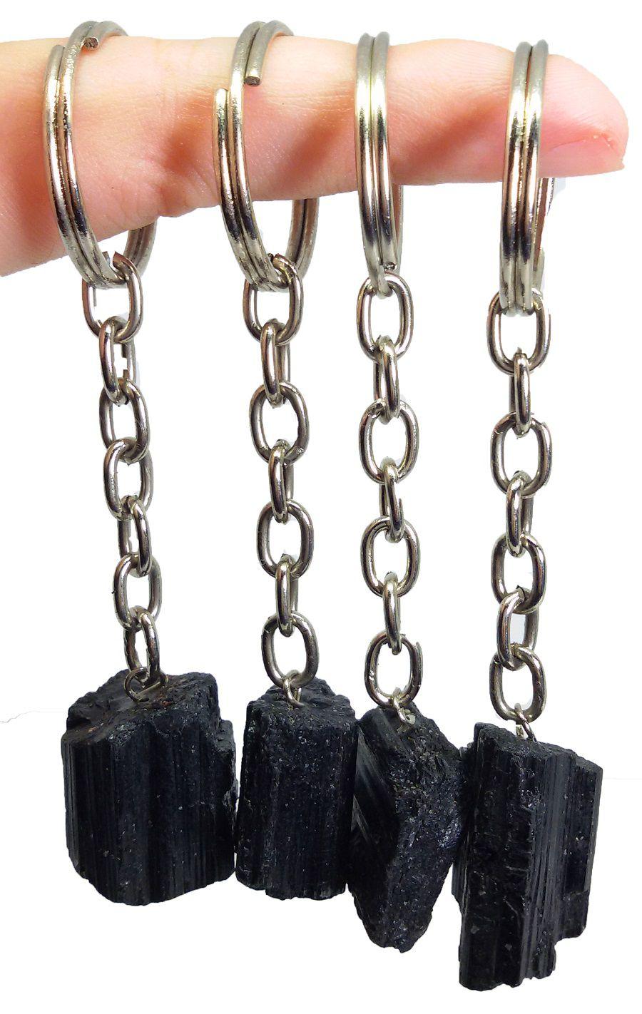 Chaveiro Com Pedra Turmalina Negra Natural