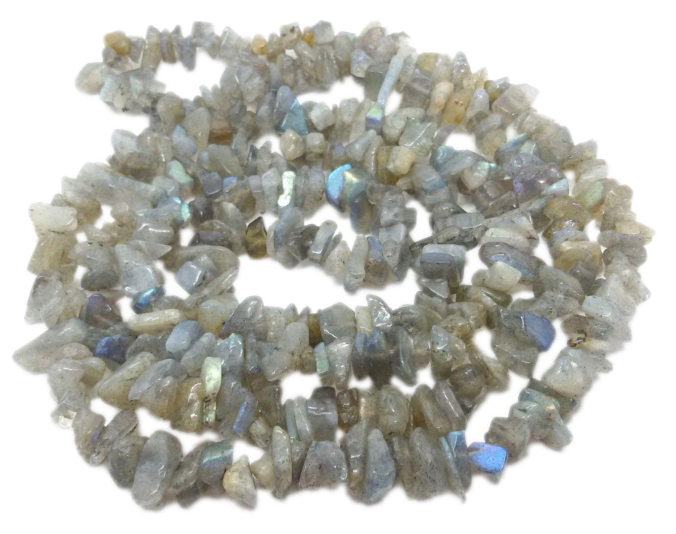 Colar De Cascalho De Pedra Labradorita Natural