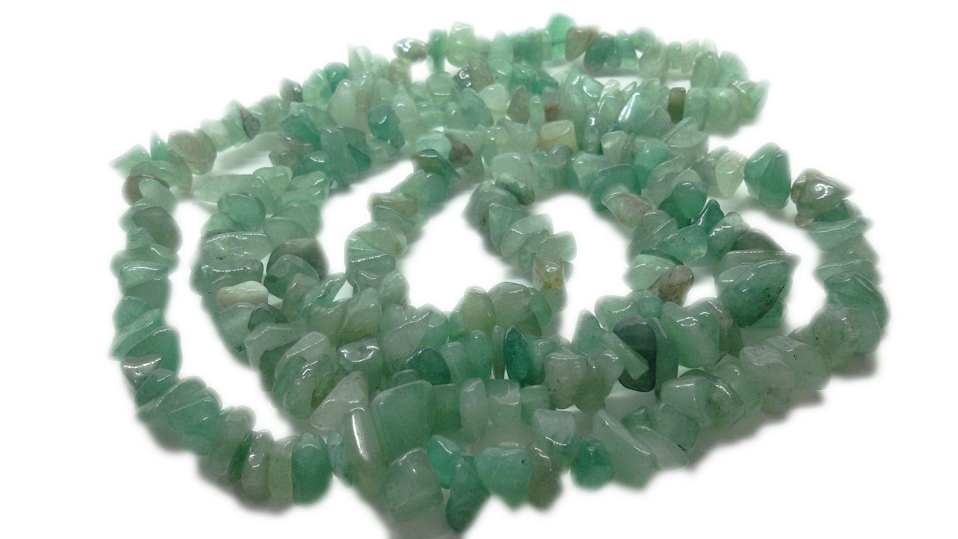 Colar De Cascalho De Pedra Quartzo Verde Natural
