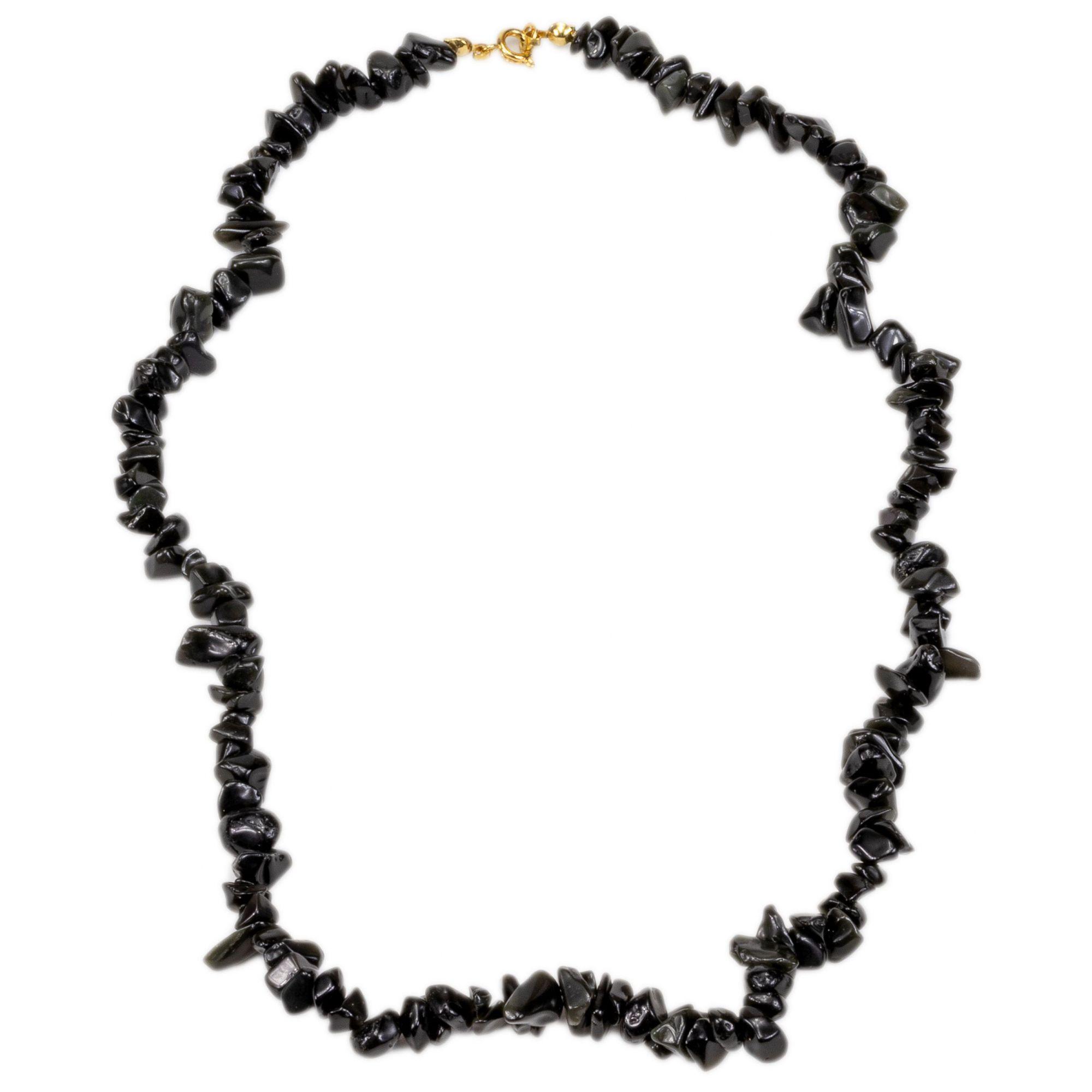 Colar Gargantilha De Pedra Obsidiana Negra Natural