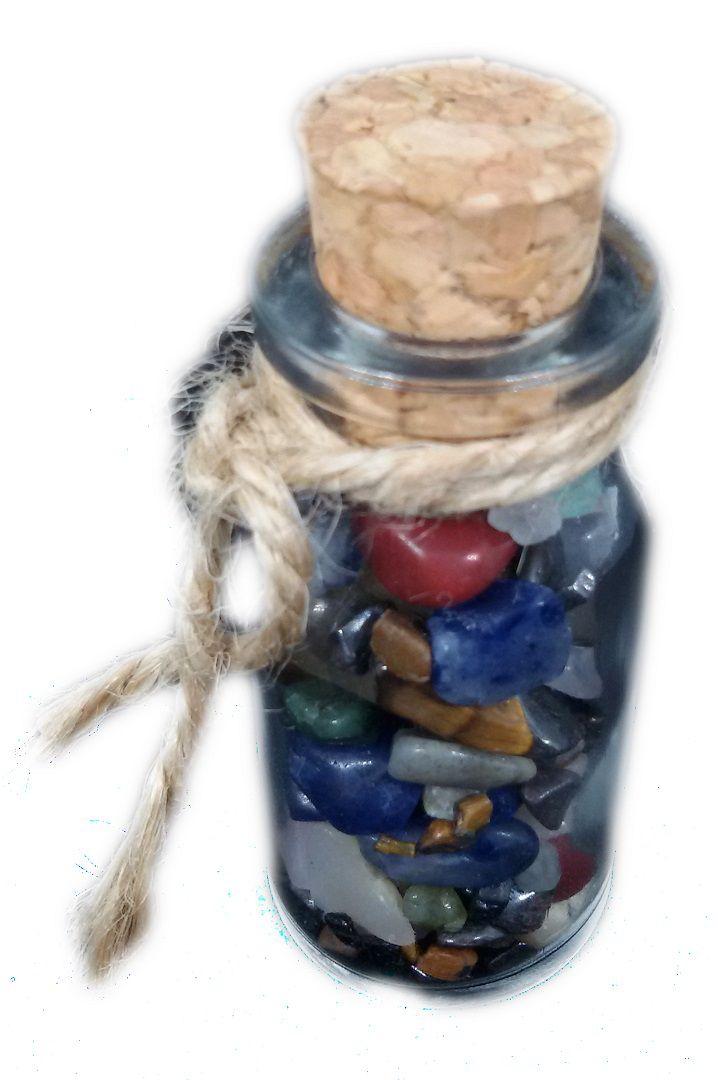 Mini Garrafa de Vidro com cascalho de pedra natural Sortida