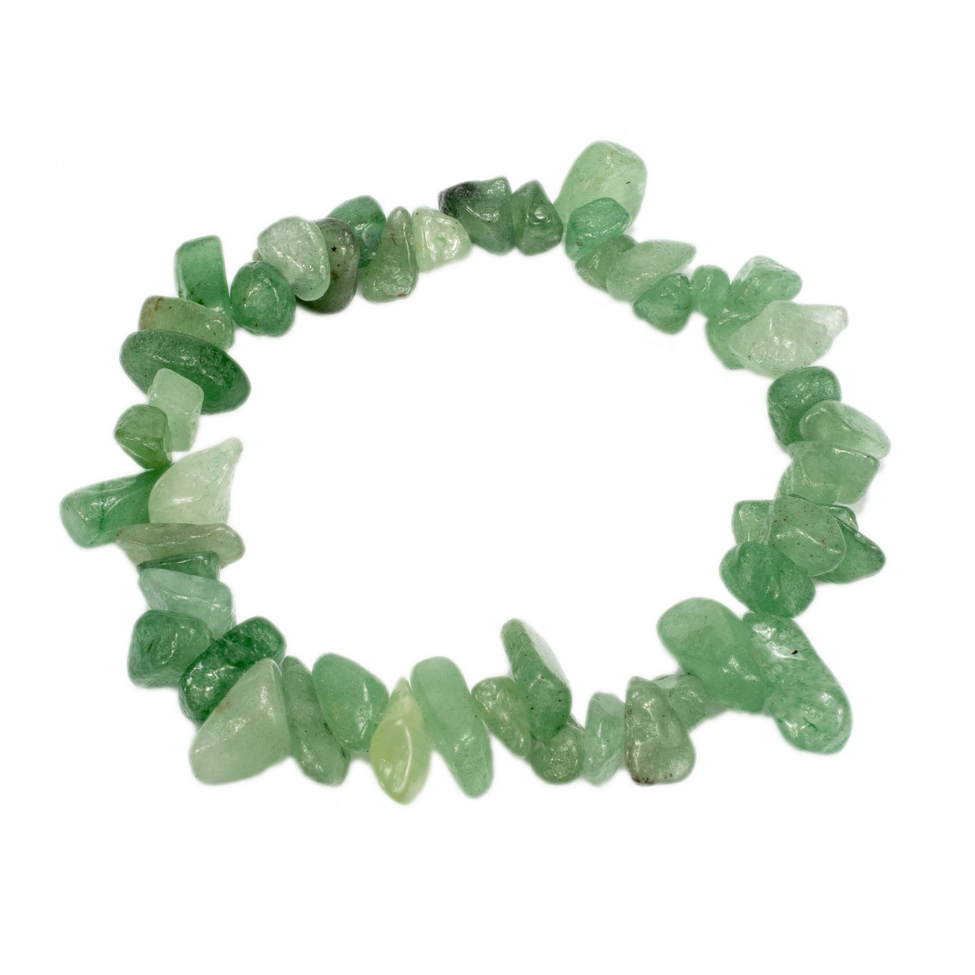Pulseira De Cascalho Pedra Quartzo Verde Natural
