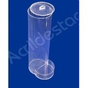 Baleiro de acrilico cristal Tubo efeito gravitacional com Tampa e Dispenser 44 cm