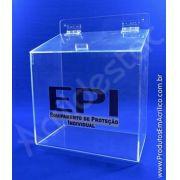 Caixa Acrilico 27,5cm Alt para EPI protetor auditivo avental luvas óculos máscaras