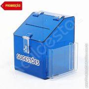 Caixa de Sugestões em Acrilico Azul Cobalto 20cm Urna para pesquisa de satisfação