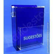 Caixa de Sugestões em Acrilico Azul 33cm urna para sorteio pesquisas e documentos