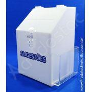 Caixa de Sugestões em Acrilico Branco 25cm para Sugestões e Reclamações