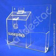 Caixa de Sugestões em Acrilico Cristal 24,5cm para recepções e condominios