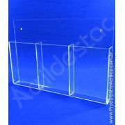 Display acrilico de Parede 21x10cm Bolso Triplo, Porta Folder, flyers, envelopes
